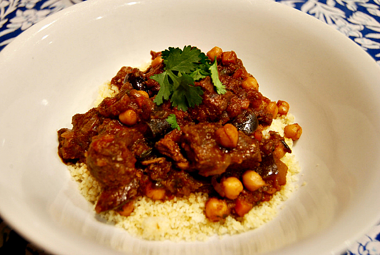 lamb with eggplant and chickpeas
