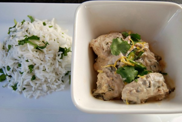 Cardamon chicken with coriander rice