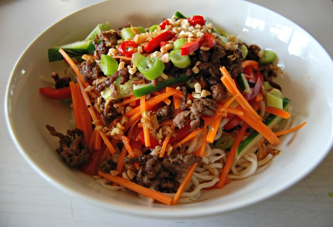 Crispy beef and noodle salad