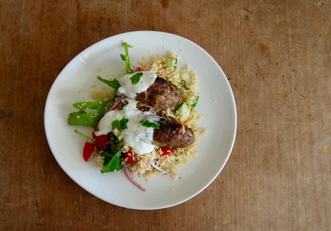 lamb kofta with couscous salad