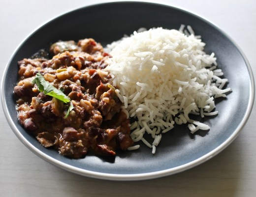 red kidney bean and eggplant curry