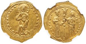 THEODORA GOLD HISTAMENON - SOLE REIGN ISSUE WITH CHRIST AND VIRGIN EX KNOBLOCH COLLECTION - CHOICE AU STAR NGC GRADED BYZANTINE COIN (Inv. 11444)
