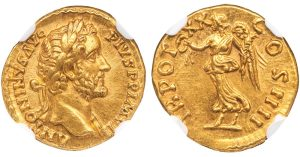 ANTONINUS PIUS GOLD AUREUS - COS IIII ISSUE WITH VICTORY - CHOICE MINT STATE NGC GRADED ROMAN IMPERIAL COIN (Inv. 12176)