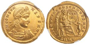 CONSTANS GOLD SOLIDUS - EXTREMELY RARE EMISSION OF NICOMEDIA WITH VICTORY HOLDING SHIELD - CHOICE AU STAR NGC GRADED ROMAN IMPERIAL COIN (Inv. 12532)
