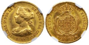 SPAIN ISABEL II GOLD 20 REALES OF 1861 - MS 64 NGC GRADED WORLD COIN (Inv. 9149)