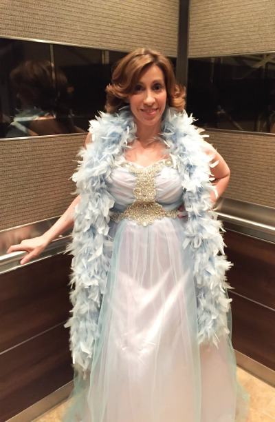 """Decked out in my Elsa prom dress to cohost """"The Wheel of Romance"""" event. Pictured: YA Author Kami Garcia"""