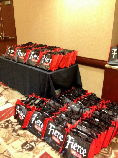 Giveaway bags at the Fierce Reads Pizza Party on Teen Day.
