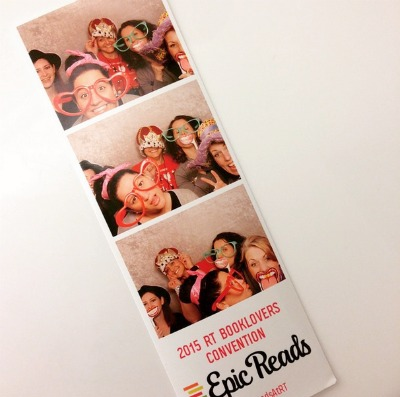 From Left: Rachel Vincent, Kiera Cass, Jeanette Battista, Sophie Jordan, and Kimberly Derting acting goofy in the Teen Day Party photo booth.