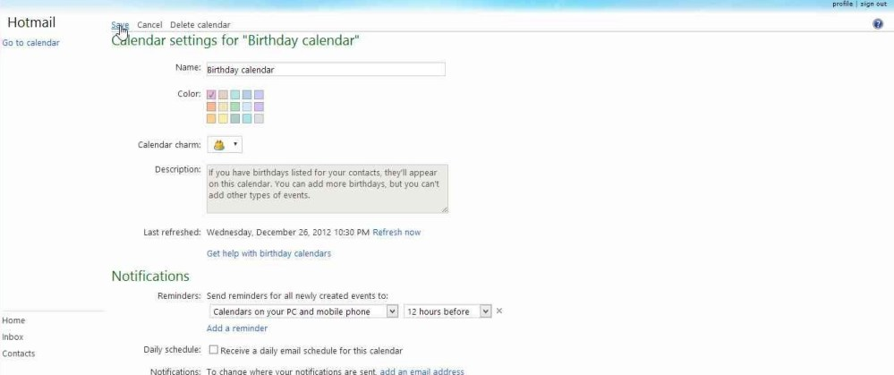 How to disable Birthday Calendar notification mails in Outlook (4/6)