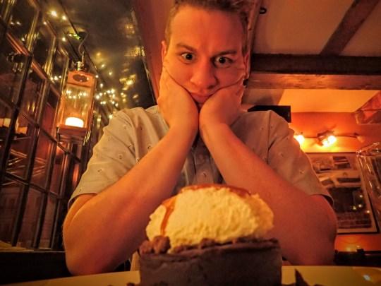 Morris and his cheesecake.
