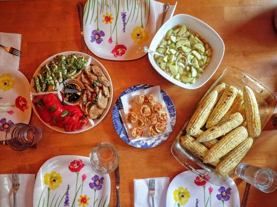 Summer corn, fire & ice salad, caprese and deviled eggs.