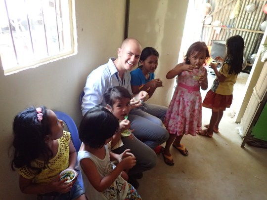 Matthew getting kids excited about mashed up vegetables.