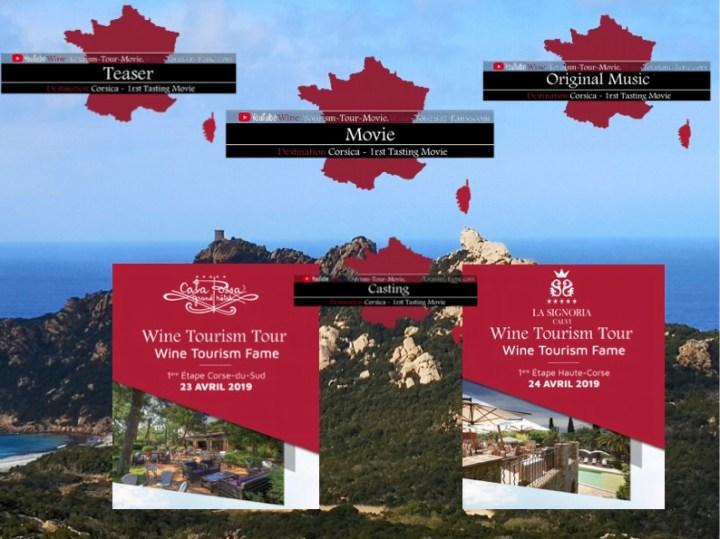 """La dénomination officielle est """"Wine Tourism Tour – Wine Tourism Fame"""".  La Chaîne You-tube """"Wine Tourism Tour Movie – Wine Tourism Fame""""  L'organisation du « Wine Tourism Fame » dépose officiellement la nouvelle dénomination » Wine Tourism Tour – Wine Tourism Fame ».   Wine Tourism Tour Movie - Cala Rossa Porto-Vecchio Distribution Corse-du-Sud  LIEN WEB : https://vin-tourisme.fr/wine-tourism-tour-movie-cala-rossa-porto-vecchio-distribution-corse-du-sud/   Wine Tourism Tour Movie : Corsica La Signoria Distribution Haute-Corse  Lien Web : https://vin-tourisme.fr/wine-tourism-tour-movie-corsica-la-signoria-distribution-haute-corse/"""