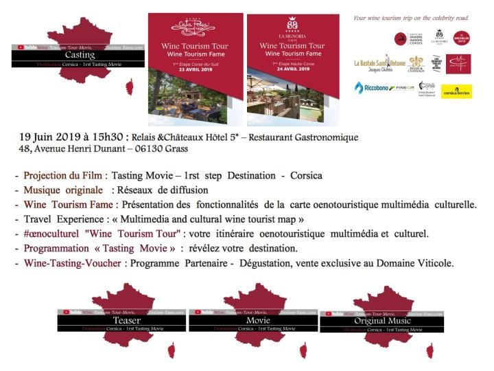 """-  Projection du Film : Tasting Movie  -  Musique  originale   : Réseaux  de diffusion  -  Wine  tourism Fame : Présentation des  fonctionnalités  de la  carte oenotouristique multimédia  culturelle. -  #œnoculturel """"Wine Tourism Tour"""" :votre itinéraire oenotouristique multimédia et culturel. - Programmation  «Tasting  Movie»  :  révélez votre  destination"""