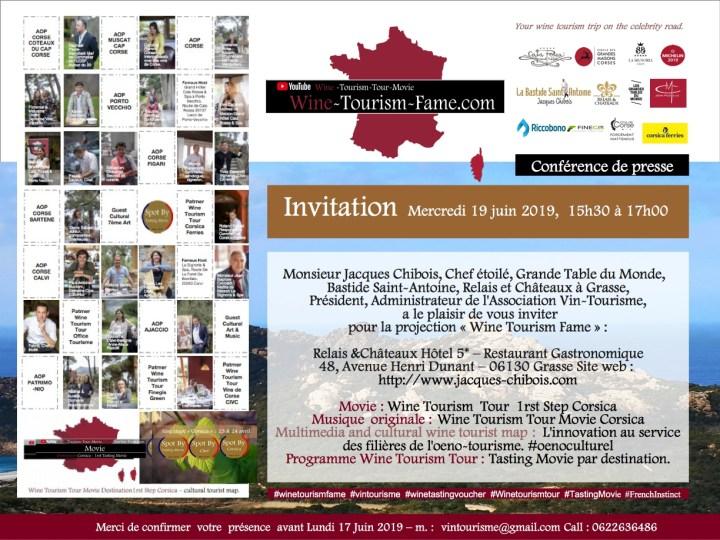 Invitation  Mercredi 19 juin 2019,  15h30 à 17h00   Monsieur Jacques Chibois, Chef étoilé, Grande Table du Monde,   Bastide Saint-Antoine, Relais et Châteaux à Grasse, Président, Administrateur de l'Association Vin-Tourisme,  a le plaisir de vous inviter pour la projection «Wine Tourism Fame»:   Relais &Châteaux Hôtel 5* – Restaurant Gastronomique 48, Avenue Henri Dunant – 06130 Grasse Site web :http://www.jacques-chibois.com  Movie: Wine Tourism  Tour  1rst Step Corsica Musique  originale: Wine Tourism Tour Movie Corsica Multimedia and cultural wine tourist map:  L'innovation au service des filières de l'oeno-tourisme. #oenoculturel Programme Wine Tourism Tour: Tasting Movie par destination.