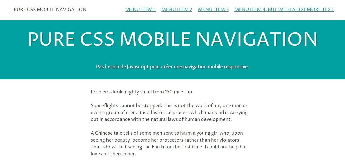 Coder une navigation mobile sans JS