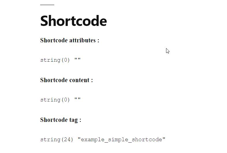 Le code court affiche ses paramètres.