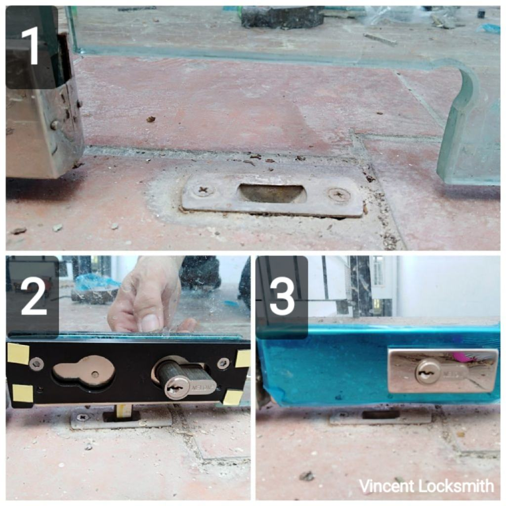 Installation of glass door lock