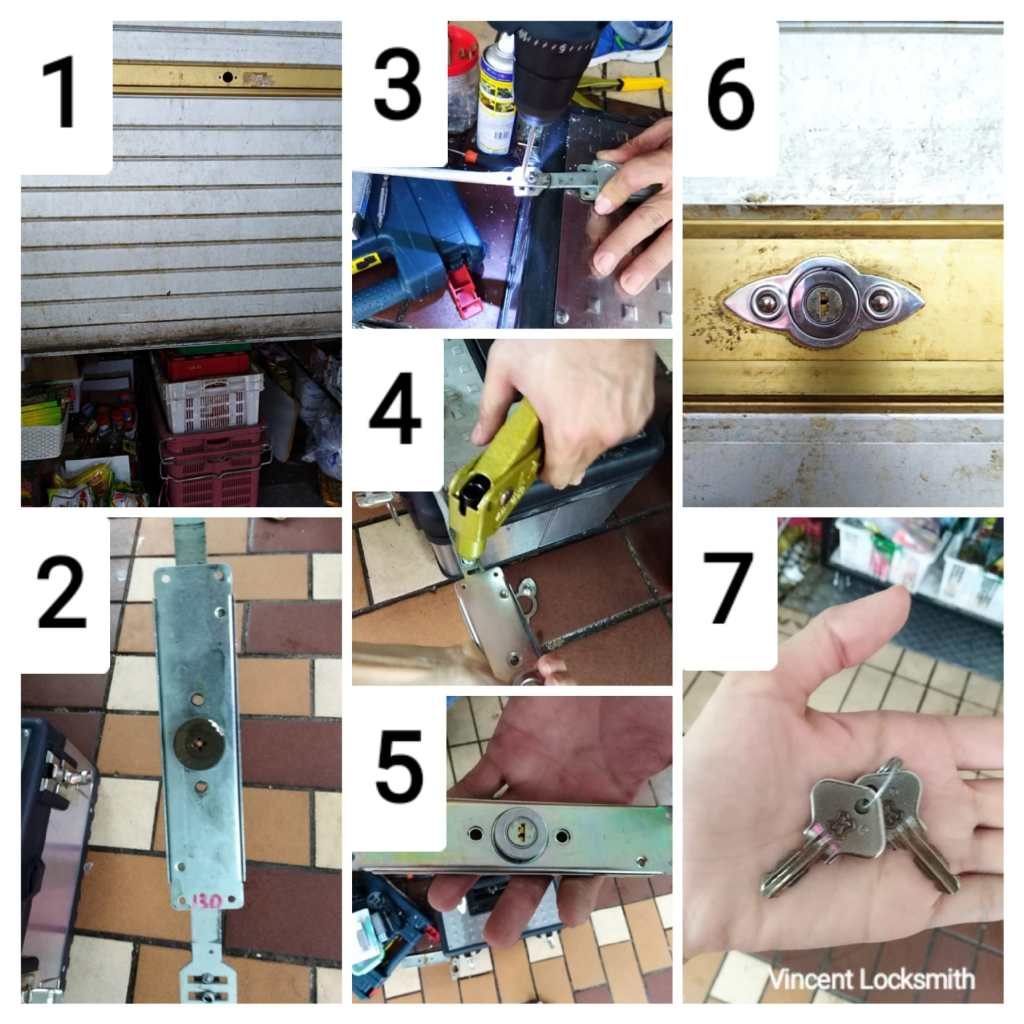The process of opening and changing roller shutter locks in a picture grid.