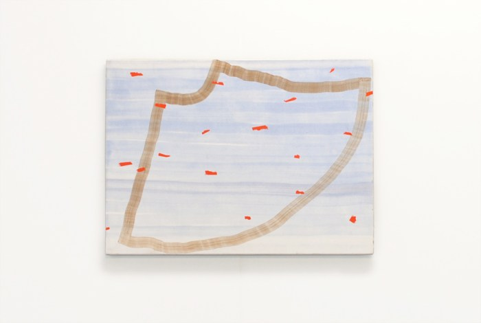 painting with brown outlines of a skirt on a watery blue background and with vermilion stripes on it
