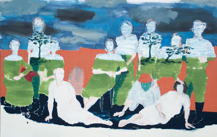 a painted diptych that depict a group of eleven people sitting outside and in which a different landcape is vissible