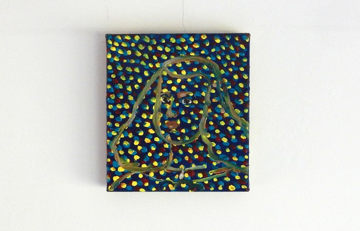 portrait of margarita teresa painted in a red yellow and blue dotted surface
