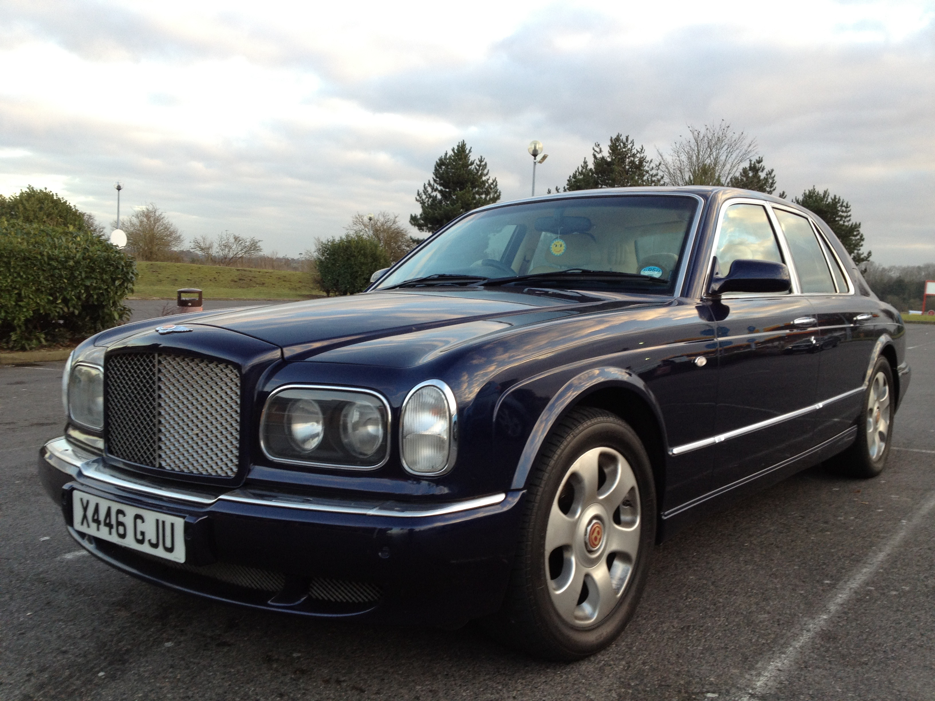 A dark blue Bentley Arnage
