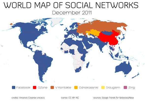World Map indicating the social media tools used the most in specific countries around the globe