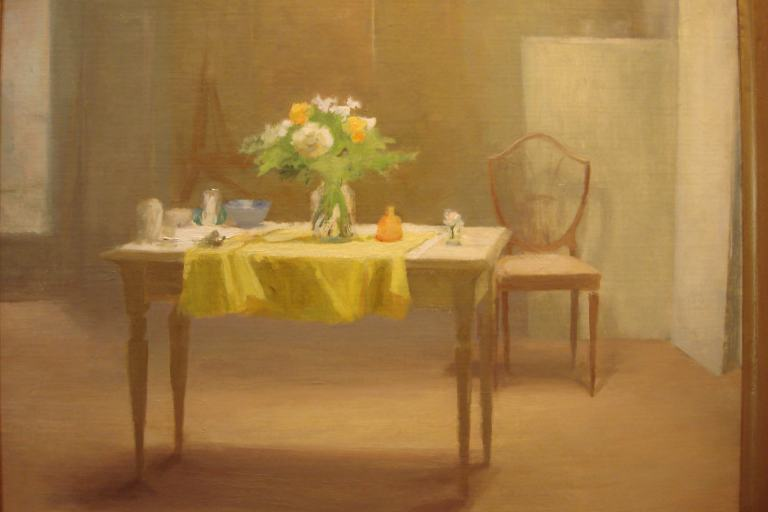 Frances Gallante Yellow Tablecloth 2002, Woodmere May 2015-1