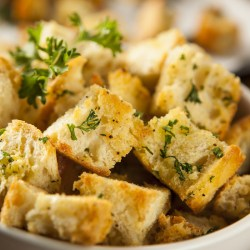 homemade garlic croutons in a bowl