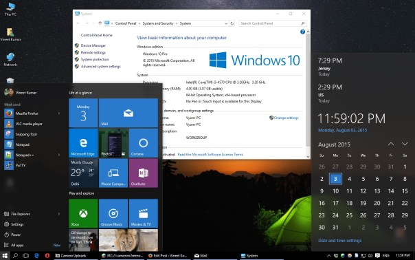 Windows 10 desktop. The calendar looks really nice