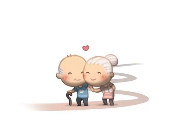 Муж в веселых картинках объясняет жене, что такое любовь.