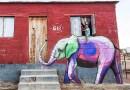 Остроумный стрит-арт со слонами в Южной Африке.