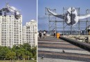 В Рио, на крыше дома, установили гигантское изображение атлета.
