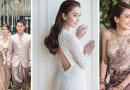 На своей свадьбе невеста воспользовалась шестью восхитительными свадебными платьями.