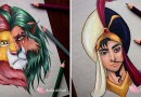 Эта художница в своих картинах объединяет диснеевских героев и злодеев.