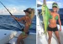 Блондинка Мишель Клаватт обожает рыбачить, при этом делает она это в бикини.