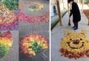 Японцы сходят с ума от опавших листьев, превращая их в искусство.
