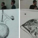 Студент, просиживая время на парах, рисовал своего преподавателя, создавая веселые карикатуры.