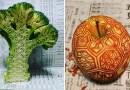 Резьба на фруктах и овощах от японского художника Гаку.