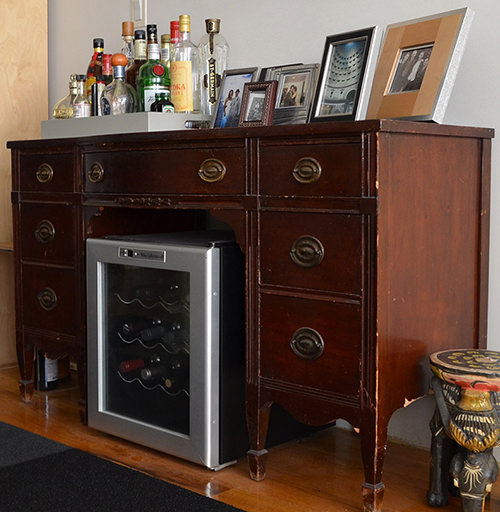 Wine Fridge Inside a Bureau