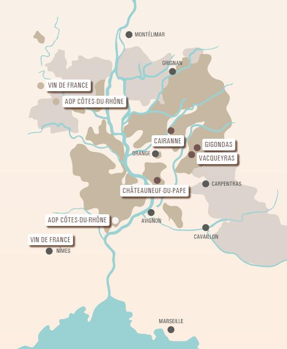 carte vinicole AOP Côtes-du-Rhône Méridionale