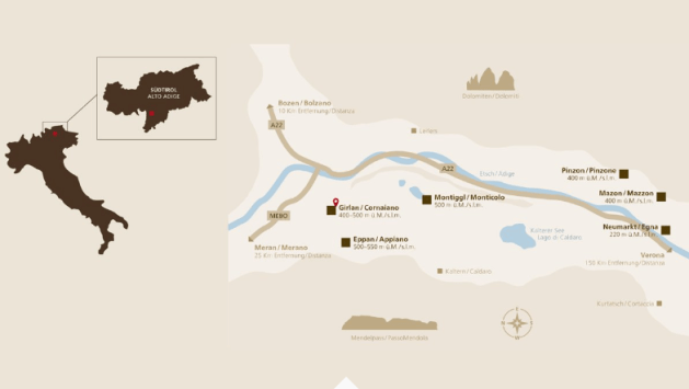 Carte vinicole Trentin-Haut-Adige