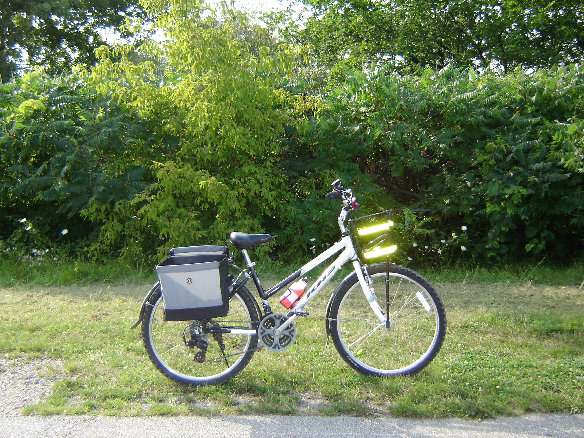 My bike on the Don Rive Trail this summer (with the new REI panniers).