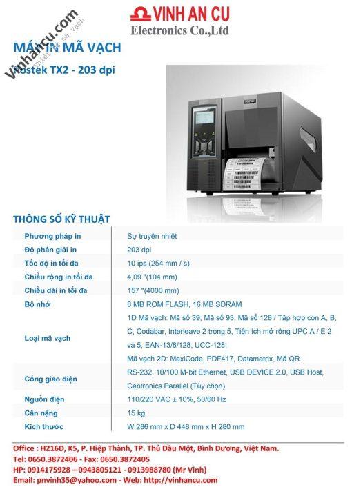 máy in công nghiệp postek tx2 203 dpi - may in postex tx2 203