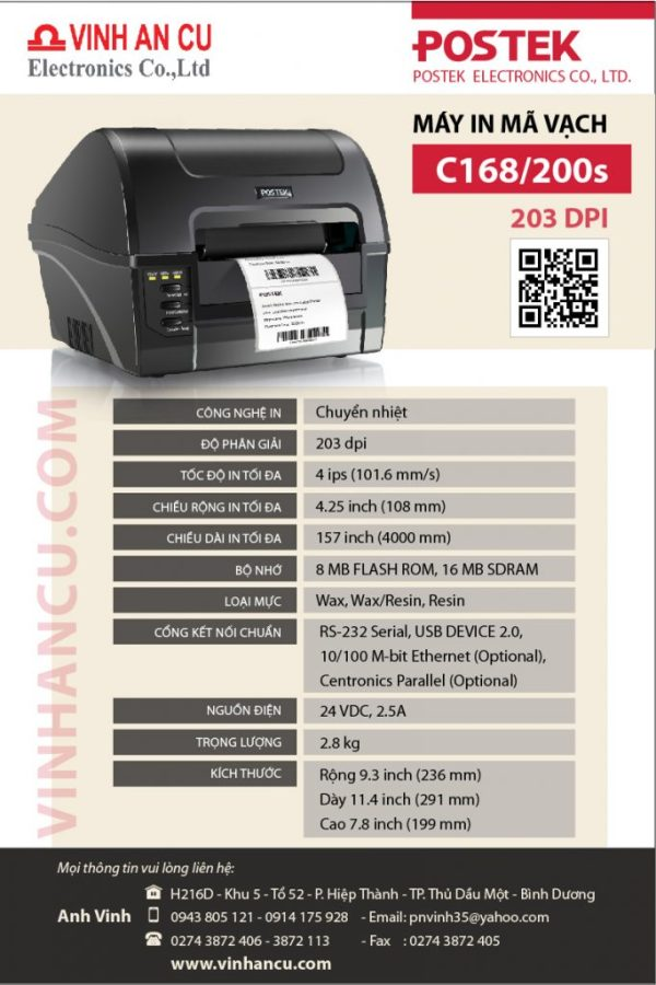 máy in tem nhãn mã vạch C168 200S