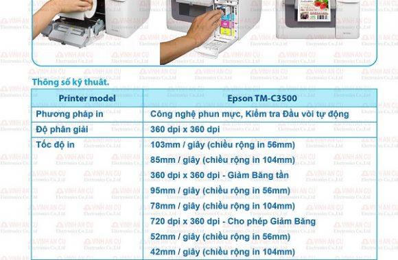 mua máy in tem nhãn mã vạch nhiều màu, tm c3520 epson color label printer in roll 2019