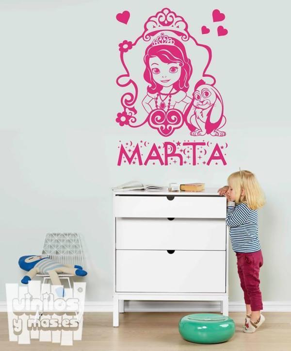 Vinilo decorativo de la princesa Sofía + nombre personalizado, serie Disney.