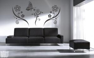 Vinilo decorativo floral composición 3 con mariposa .