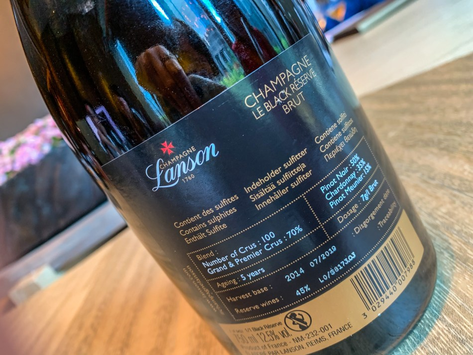 The back label of Lanson Black Label Reserve contains detailed and transparent information on the wine (pic: Vino Joy News)